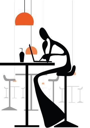 using laptop: Cartone animato uomo ombra illustrazione utilizzando il computer portatile, lavorando con internet in coffee shop