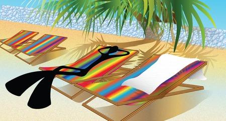 Illustration shadow man cartoon lying on beach chair Vector