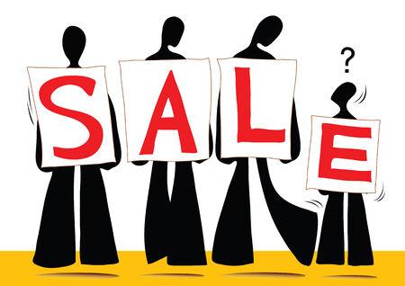 illustration  shadow man cartoon carrying sale sign Illustration
