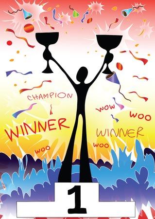 cartoon winner: illustration  shadow man cartoon winner champion Illustration