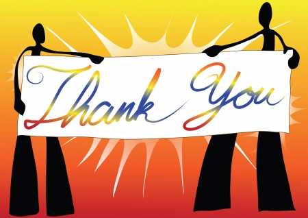 illustration  shadow man cartoon carrying thank you sign