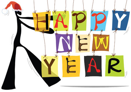 new years eve background: illustration  shadow man cartoon and happy new year wording sign
