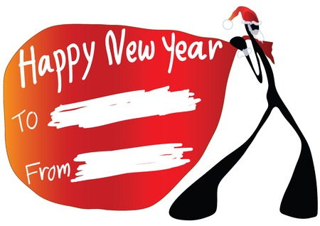 happy new year banner: Illustration shadow man cartoon carrying happy new year card