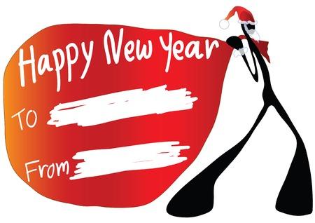 Illustration shadow man cartoon carrying happy new year card Stock Vector - 7232961