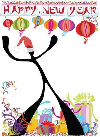 illustration  shadow man cartoon  happy new year wording sign Vector
