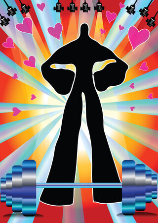 Illustration strong heavy weight shadow man on sparkle light and heart Vector