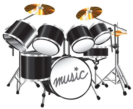 Illustration drum set on white background Vector