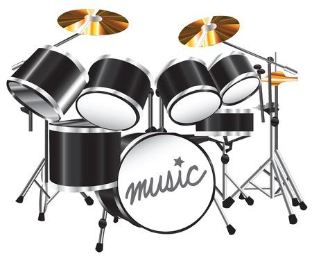 Illustration drum set on white background Vector