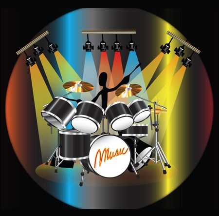 illustration shadowman playing drum set on stage with colorful lighting