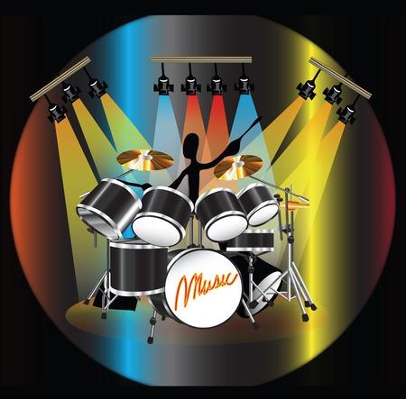 ドラム演奏ドラム図シャドウマン カラフルな照明付きステージ上セット