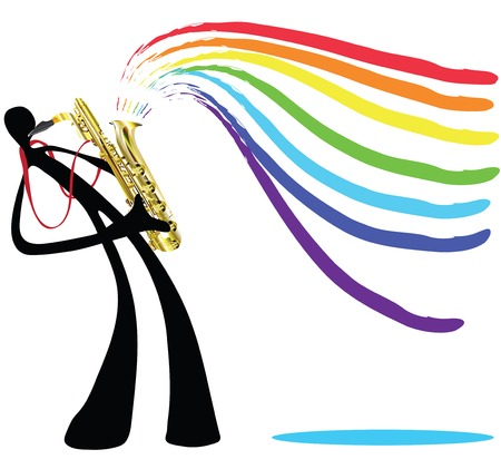 Shadow man cartoon playing saxophone in white background