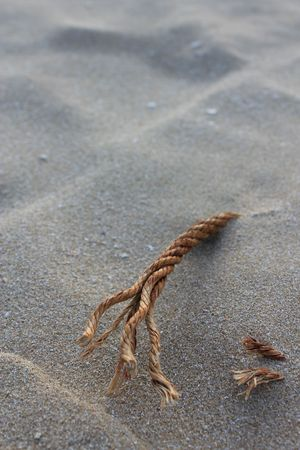 rope appear from sand on beach Stock Photo