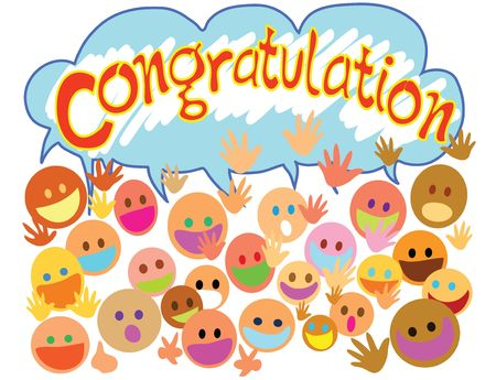 Many people happy face saying congratulation with you. Stock Photo