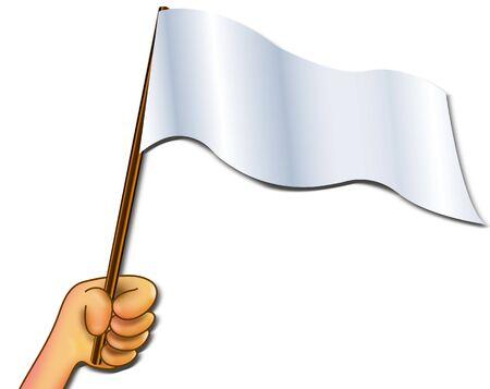 Illustration hand holding empty  flag for write wording  inside