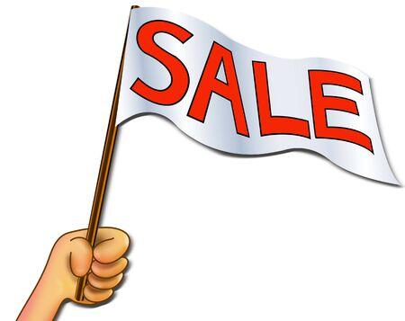 Illustration hand holding sale wording symbol flag for promotion