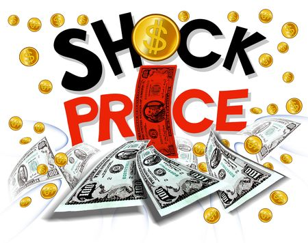 shock price wording promotion on gold splash background with coin and backnote