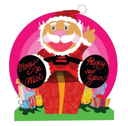 Illustratie verrassing cadeau met Santa cartoon design voor prettige kerstdagen en gelukkig Nieuwjaar