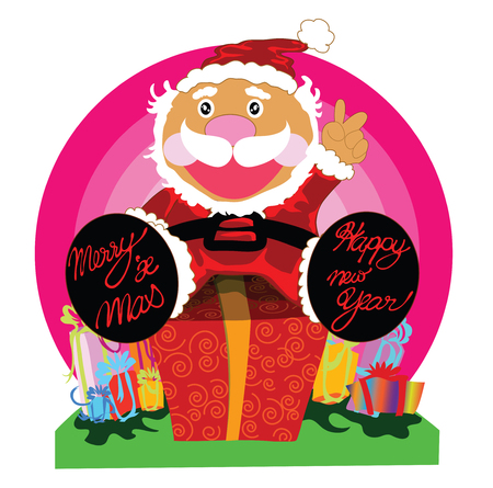 sideburns: Illustration surprise gift with Santa cartoon design for merry christmas and happy new year