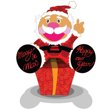 Illustration surprise gift with Santa cartoon design for merry christmas and happy new year. Stock Vector - 7505766