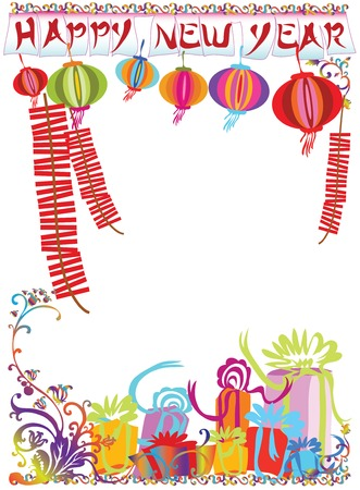 lunar new year: Illustration new year sign and ornament for decoration background design.