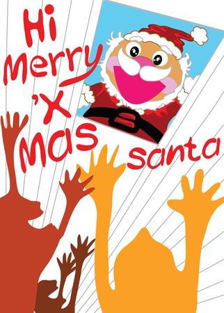 celebrat: Santa claus cartoon celebrat with people.