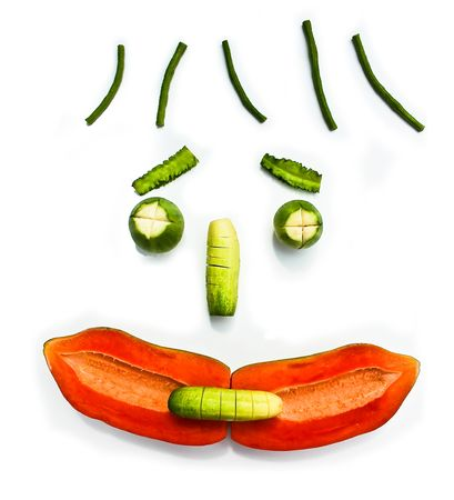 Vegetable and fruit design to be smile face and isolate.