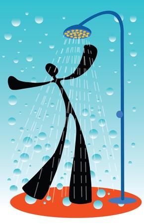 sentimientos y emociones: hombre tomar una ducha al lal la... cool eche lo muy alegre.  Vectores