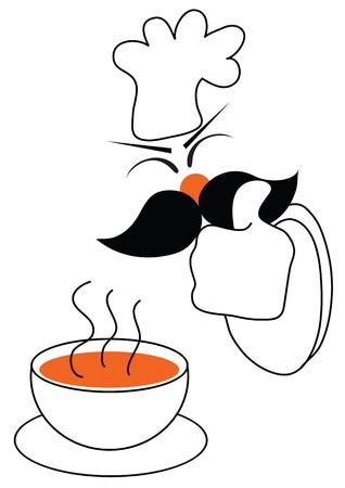 chef caricatura: símbolo de buena prueba de alimentos chef garantía para su negocio  Vectores
