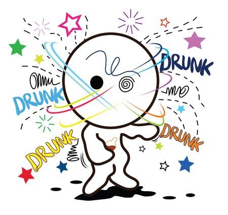 cartoon drunk when heavy drink alcohol ..so much..defunct. Stock Vector - 7620009