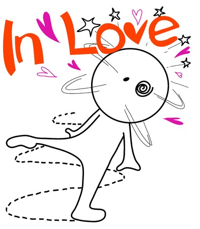 alone person: cartoon in love over acting symbol design for some one in love like this hahahaha Illustration