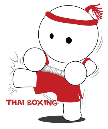 extremely: cartoon thai boxing acting kick or attack to opponent.