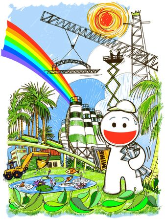 cartoon engineering have big project build factory of cement and oil concept save world and keep nature. photo