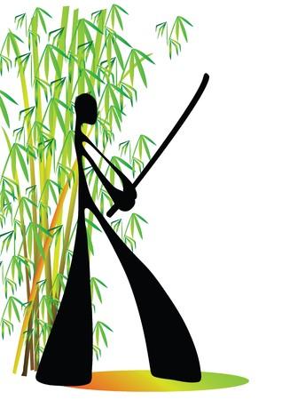 shadow man samurai acting in bamboo garden around feel Asian