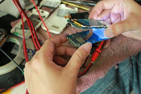 plumbum: repair mobile service business small shop by repairman Stock Photo