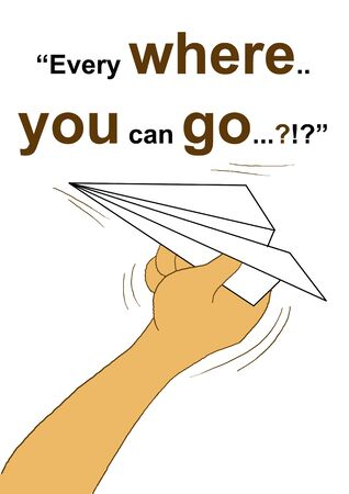 easy: Paper airplane cartoon design concept symple and easy and head line Every where you can go.