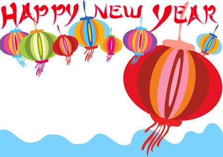 chinese cartoon: Happy new year background or card design for celebrate.