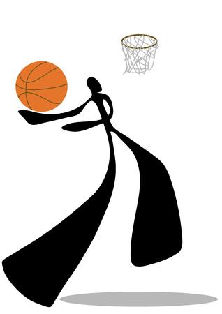 play acting: Shadow man basketball shooting cartoon design sport symbol. Illustration