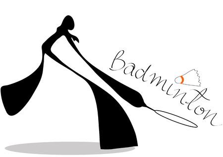 play acting: shadow man badminton cartoon design sport symbol.