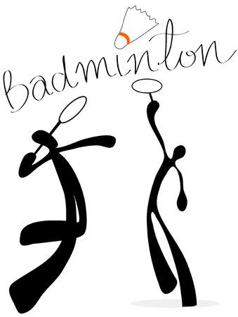 Shadow Man Badminton Cartoon Design Sport Symbol.