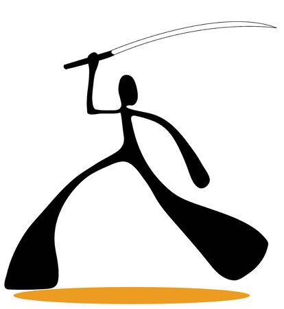 Shadow man samurai cartoon design sport symbol.