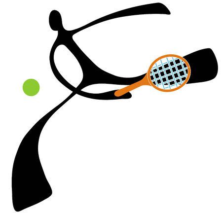 Shadow man tennis cartoon design sport symbol. Vector
