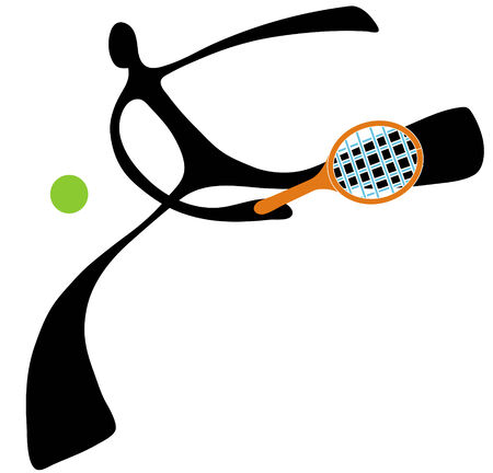 Shadow man tennis cartoon design sport symbol.