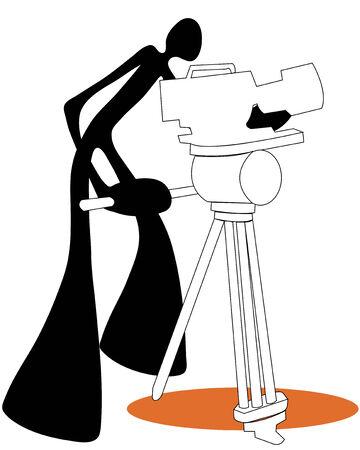 gimmick: Shadow man camera shooting movie stand cartoon symbol. Illustration