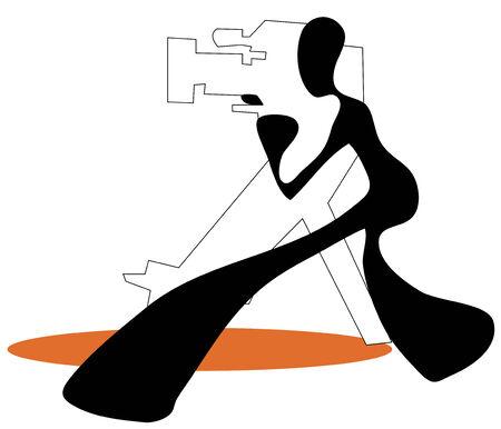 Shadow man camera shooting movie cartoon symbol.
