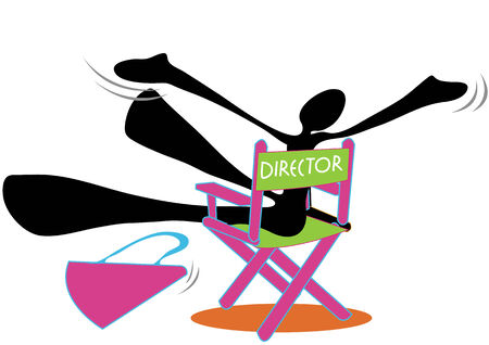 gimmick: Shadow man director be happy or shout and sit on pink and green chair.