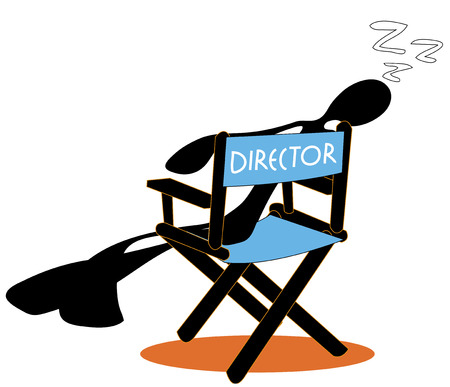 gimmick: shadow man director sit and sleep on chair cartoon symbol design.
