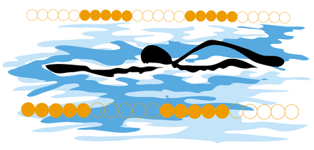 gimmick: shadow man cartoon swimming sport design.