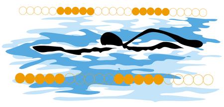 shadow man cartoon swimming sport design. Stock Vector - 9050906