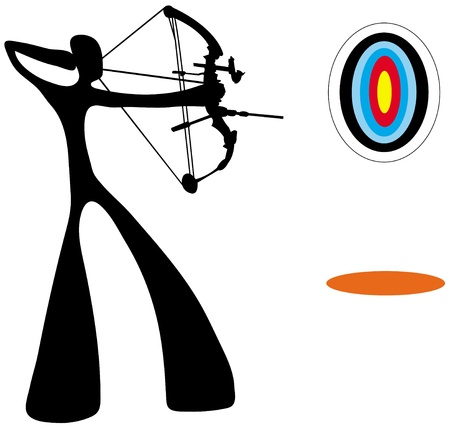 ombre homme: Shadow man playing archery game.