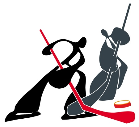 Shadow man 2 man playing hockey sport extreme games team. Stock Vector - 9929451
